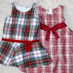 Two Christmas holiday festive 2T dresses